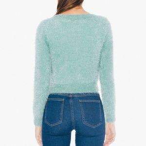 American Apparel Fuzzy Sweater Mint Green NWOT Cali Sun /& Fun Eucalyptus Cropped